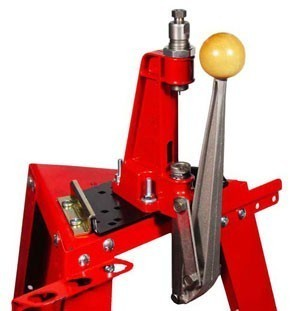 Steel Bench Block on Reloading Stand with Reloader Press